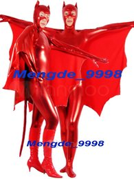 Catsuit Rouge Brillant Pas Cher-New Red Bright Lycra Metallic Bat Suit Costumes Catsuit Fantastic Bat Suit Outfit Unisex Cosplay Costumes Costume Halloween Cosplay M199