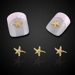 $enCountryForm.capitalKeyWord NZ - 10pc Beauty Starfish Nail Art Decorations Glitter Gold Alloy 3D Nail Jewelry DIY Ocean Series Nails Tips Free Shipping