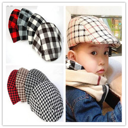 Wholesale New Fashion Baby Boy Children Kids Beret Ball Cap Casual Hats Cotton Blend Classic Plaid Pattern Cool Hat