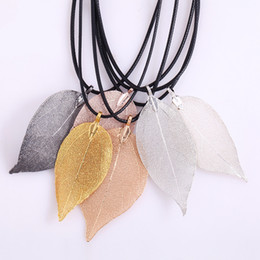 Wholesale Natural Real Leaf Dipped Long Leaf Pendants Necklace for Women Gold Plated Handmade DIY Stray Leaves Necklaces