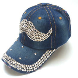 jean Hat Lady Point drill pearl cowboy hat women Denim snapback baseball cap  Outdoor Sport Rhinestone Female Casual 868da21c5743