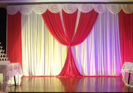 red stage curtains UK - 3 m * 6 m Red&White Luxury Wedding Backdrop stage curtain Wedding Decoration