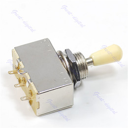 Discount electric guitar shipping box - Wholesale- Chrome Box Style 3 Way Closed Toggle Switch For Electric Guitar Cream Knob Free Shipping