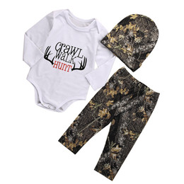 Discount toddlers girls clothes - Wholesale- Newborn Toddler Baby Boy Girl Long Sleeve crawl walk hunt Bodysuit Tops +Pants +Hat Outfits Set Clothes