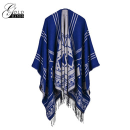 Wrap Outerwear Canada - Gold Hands Winter Plaid Cashmere Scarf Women Outerwear Coats Blanket Scarf Wrap Warm Wool Female Tassels Pashmina Shawls and Scarves
