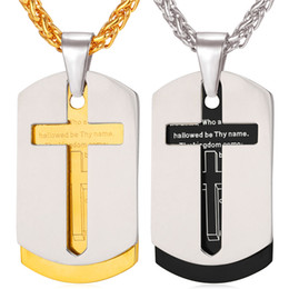 Discount lord prayer pendants - Cross Necklace Pendant Christian Jewelry 18K Real Gold Plated Stainless Steel Bible Lords Prayer Dog Tags for Men