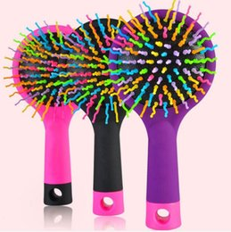 Wholesale Detangling Brush Canada - Anti Static Combs Detangling Hair Brush Styling Tool Rainbow Tangle Hair Brush Magic Hair Salons Brush Comb with Mirror DHL Free Shipping