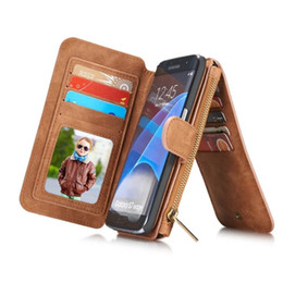 Chinese  For Galaxy S7 Luxury Vintage Leather Magnetic Detachable Phone Case Multifunctional Zipper Wallet Case for Samsung Galaxy S7 edge 5.5inch manufacturers