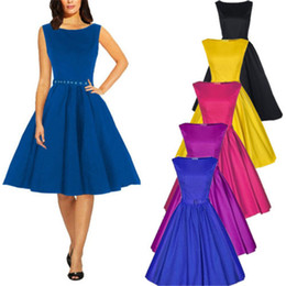 Barato Vestido De Bola Rockabilly-Top Selling 5 Design Plus Size Moda Mulheres 50s 60s Retro Rockabilly Swing Prom Gown Ball Party Evening Dress CL274