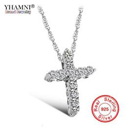 fef5db30f4e6 YHAMNI Lujo Original Plata de Ley 925 Collar Colgante Cruz Princesa Collar  de Diamante de Lujo Colgante para Damas y Mujeres N10