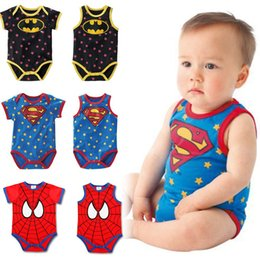 Barato Macaco De Bebê Macaco-Newborn Toddler Superman Batman Coverall Rompers Algodão Baby Boys Romper Cartoon Jumpsuits Verão roupas Atacado 6pcs / lot