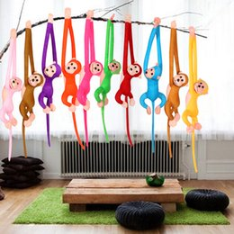 Discount toy monkey long arms - Wholesale-1Pcs 60cm Hanging Long Arm Monkey from arm to tail Plush Baby Toys Cute Colorful Doll Kids Gift K5BO