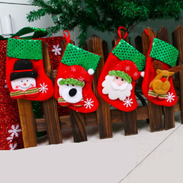 Short Cloth Hanging Bags Canada - Christmas Stockings Candy Gift Bags Decorative Sock Decoration Santa Decor Christmas Tree Hanging Ornament Accessories Reindeer Sequin home
