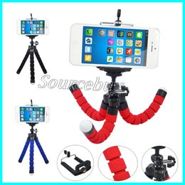 Phone triPod mount online shopping - Universal Stretch Adjustable Cell Phone Tripod Octopus Holder Stand with Clip Mount Adapter Rotation for iPhone Smartphone Camera Tablet