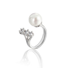 pearl ring white gold UK - Beautifaul Pearl and Crystal Ring Rose Gold Plated Zircon Ring Gemstone Jewelry Crystal Zircon Ring Jewelry For Women ZR102