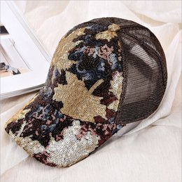 250a7da0e94 New Fashion Spring and summer Unisex Baseball Cap Maple Leaf sequins Hats  Casquette For Men Women Couple Casual Shade Net yarn Peaked Cap
