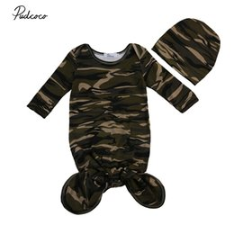 Barato Saco De Sono Longo Da Luva-Atacado- Newborn Infant Baby Sleeping Bag Algodão Camouflage Long Sleeve Wrap Vestuário Toddler Autumn Wear