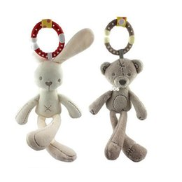 hanging baby toy wind chime Canada - Baby Infant Rattles Plush Rabbit Stroller Wind chimes Hanging Bell Toy Doll Soft Bed Gift Appease Toys WJ292