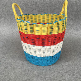 2017 Woven Plastic Baskets New Design Multifunction Plastic Woven Laundry  Hampers Storage Basket Kids Room Toy