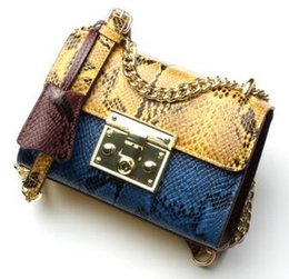 9f2dd597c0bd Snake pattern. Cowhide. Small. New pattern. Genuine leather. Metal chain. Women s  Bags. Fashion casual bag. Cross Body.Shoulder Bags. Soft.