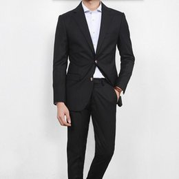 $enCountryForm.capitalKeyWord Australia - Sunshine handsome man suits tailor made groom tuxedos suits black lapel single breasted wedding party dress suits(jacket+pants)