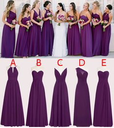 Mousseline De Soie Pas Cher-Perfect Purple 2017 Robes de demoiselle d'honneur Long Five Styles A Line Chiffon Longueur de plancher Maid of Honor Robes Custom Made SB013