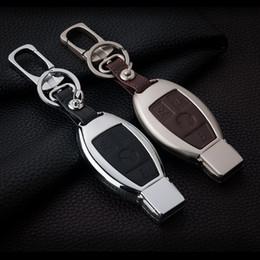 $enCountryForm.capitalKeyWord NZ - High-grade Zinc alloy Leather Car Key Case Key Bag For Mercedes Benz Key Start Stop Engine System Car Key Chain Protected Covers