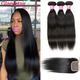 Cheap human hair dhl online shopping - Unprocessed Brazilian Hair Weave Bundles with Closure Cheap Remy Human Hair Wefts with Closure Fast by DHL