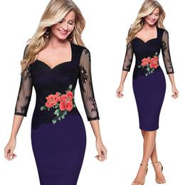 $enCountryForm.capitalKeyWord Canada - Fashion Women Casual Dress Embroidery lace Bud silk dress High Waist Pencil Dresses for OL Work Suits Slim Elegant lady Bodycon Dresses 5XL
