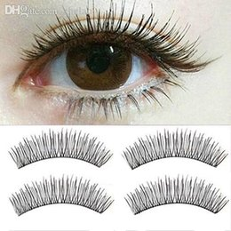 Maquillage Pour Hommes Pas Cher-Vente en gros-2016 de qualité supérieure 10 paires Black Soft Man-made Cross Eye Lashes Extension de maquillage False Eyelashes 8AUY