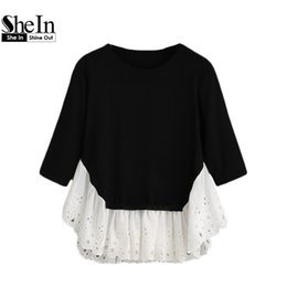Pull Long Blanc Femme Pas Cher-Wholesale-SheIn 2016 Automne Pullers Casual Womens Pullovers occasionnels noir et blanc à manches longues Contrast Ruffle Hem Pull