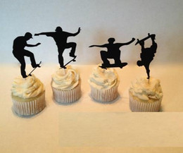 Cheap Cupcakes Wholesale NZ - custom 30pcs cheap Skateboarding Silhouette Cupcake Toppers sports Party Picks baby shower wedding birthday toothpicks decorations
