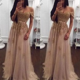Barato Vestido, Forro, Champanhe-Champagne Lace Beaded Vestidos de noite árabe Sweetheart A-line Tulle Prom Dresses Vintage Off Shoulder Cheap Formal Party Gowns