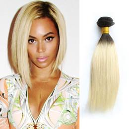 Blonde indian silky hair weft online shopping - 3 Bundles Deals Color T B Blonde Virgin Hair Silky Straight Ombre Black Blonde Peruvian Indian Hair Weave Bundle Kiss Hair Fashion