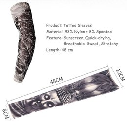 50PCS Outdoor Sport Nylon Unisex Seamless Temporary Fake Tattoo Sleeves Summer Motorcycle Anti-UV Sunscreen Protection Arm Stockings on Sale