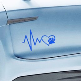 Dogs Cats Art Canada - car styling Heart Beat Paw Dog Cat Pet Lover Animal Art Car Sticker for Truck SUV Bumper Motorcycles Laptop Car Covers Vinyl Decal Jdm