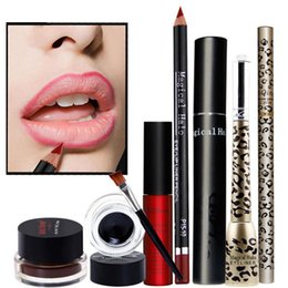 Conjuntos De Regalo Cosméticos Al Por Mayor Baratos-Al por mayor-6Pcs Maquillaje Set Eyebrow + Mascara + Eyeliner + Lip Gloss + Lipliner Make Up Cosmetics Gift Sets Kit de herramientas