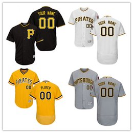 7566c8d059d ... Custom 2017 Pittsburgh Pirates Baseball Jerseys Good Stitched Coolbase  Flexbase Shirts Customized Gray White Black Yellow ...