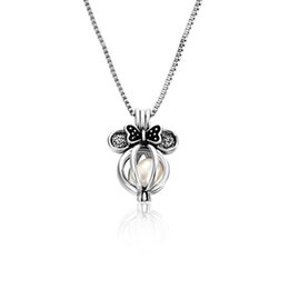 Pregnancy Chime Pendant Australia - Chimes Pregnancy Bow clavicle chain necklace Luxurious floating Lockets romantic love jewelry silver hollow Bow Pearl pendant necklaces