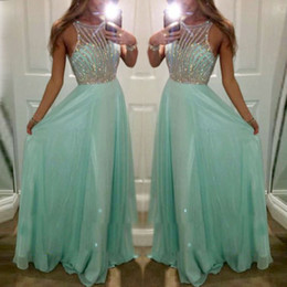 $enCountryForm.capitalKeyWord Canada - Bling Crystal Beaded Top Chiffon robe de bal Prom Dresses O Neck Off the Shoulder Sheer Illusion Long Party Evening Gowns