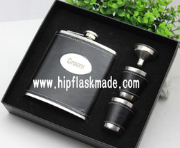 $enCountryForm.capitalKeyWord NZ - 7 oz personalized black leather hip flask with 2 cups and funnel in gift box packing