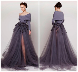 Robes De Soirée Pas Cher-Azzi Osta hors épaule 2017 Robes de soirée Fait à la main fleur Long Sleeve Side Split Tulle robes de soirée Fashion Sweep Train Party Dress