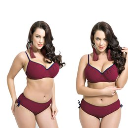 Femmes Sexy Européennes Pas Cher-Women Sexy Bikinis Plus Size American American Lady Swimsuit Mode Pure Color Patchwork Bikinis Set 2506063