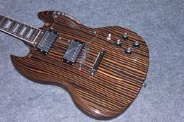mahogany wood for guitar 2019 - Super Rare Zebra Wood Zebrano IEBRAWOOD UKS-OVE SG Electric Guitar Chrome Hardware