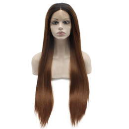 "$enCountryForm.capitalKeyWord UK - 24"" Long Dark Root Auburn Silky Straight Half Hand Tied Heat Resistant Synthetic Fiber Lace Front Fashion Wig S02"