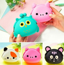Discount silicone wallet zipper - New Fashion Lovely Kawaii Candy Color Cartoon Animal Women Girls Wallet Multicolor Jelly Silicone Coin Bag Purse Kid Gif