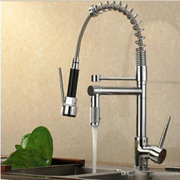 vessel mixer tap UK - Luxury Chrome Brass Kitchen Faucet Srping Style Vessel Mixer Tap Dual Sprayers Swivel Spout