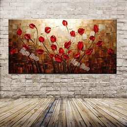 $enCountryForm.capitalKeyWord Canada - 100% hand painted scenery oil painting on canvas nice red flowers modern simple home wall art decoration paintings