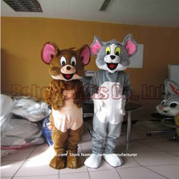 tom jerry mascot costume free shipping cheap high quality carnival party fancy plush walking tom cat jerry mouse mascot adult size