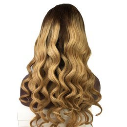 Brazilian two tone full lace wigs online shopping - Full Lace Human Hair Wigs Wavy Ombre Two Tone Brazilian Virgin Hair Density Density Natural Hairline Lace Front Wigs Bleached Knots